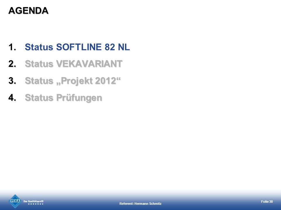 Referent: Hermann Schmitz Folie 30 AGENDA 1.Status SOFTLINE 82 NL 2.Status VEKAVARIANT 3.Status Projekt 2012 4.Status Prüfungen