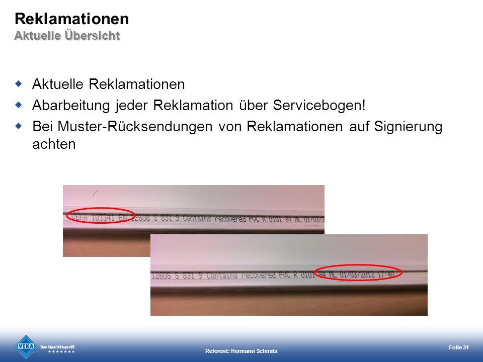 Referent: Hermann Schmitz Folie 31 Aktuelle Übersicht Reklamationen Aktuelle Übersicht Aktuelle Reklamationen Abarbeitung jeder Reklamation über Servi
