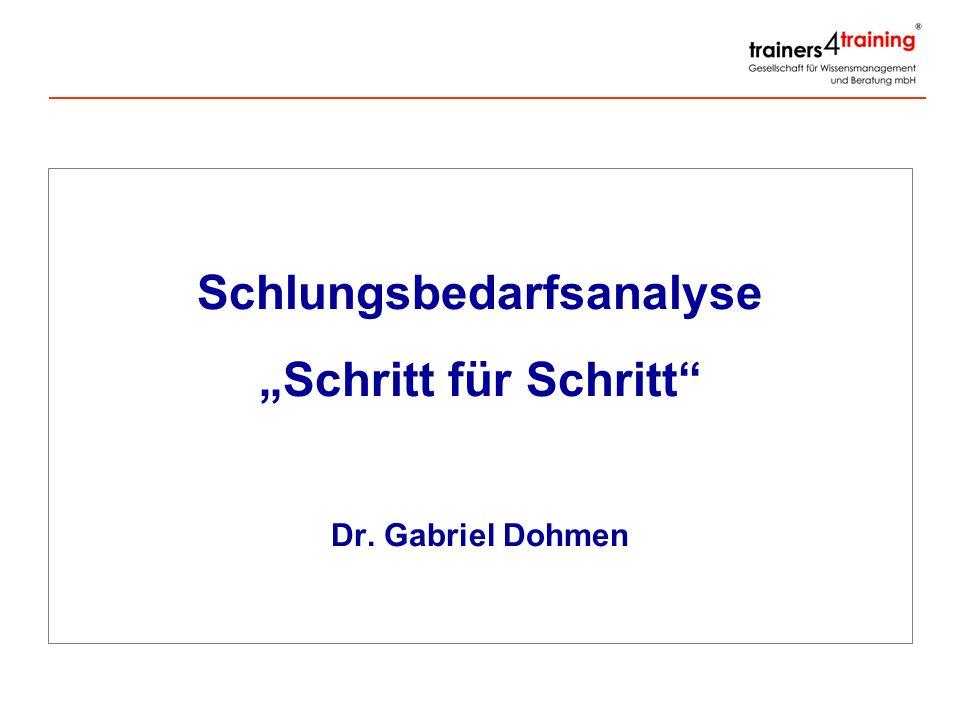 Schlungsbedarfsanalyse Schritt für Schritt Dr. Gabriel Dohmen