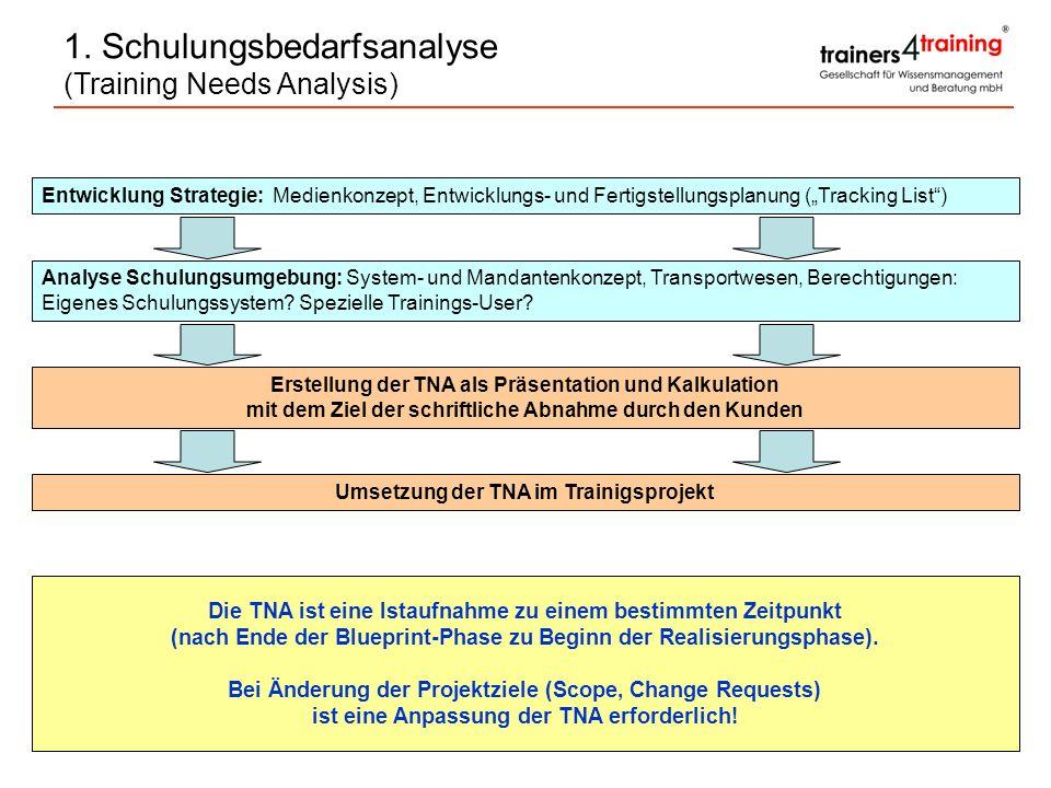 Entwicklung Strategie: Medienkonzept, Entwicklungs- und Fertigstellungsplanung (Tracking List) Analyse Schulungsumgebung: System- und Mandantenkonzept