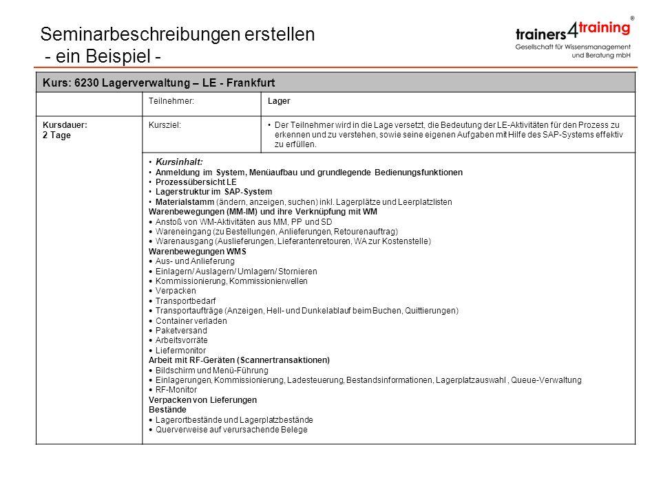 Kurs: 6230 Lagerverwaltung – LE - Frankfurt Teilnehmer:Lager Kursdauer: 2 Tage Kursziel:Der Teilnehmer wird in die Lage versetzt, die Bedeutung der LE
