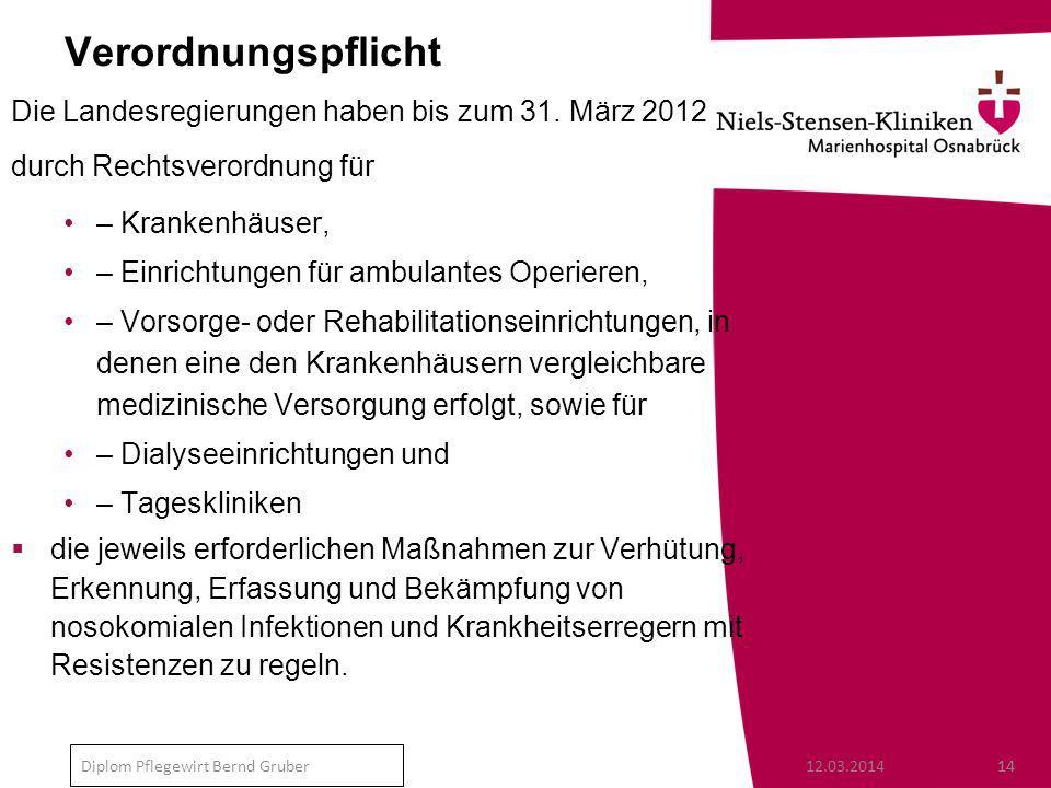 12.03.201414 Diplom Pflegewirt Bernd Gruber Verordnungspflicht Die Landesregierungen haben bis zum 31.