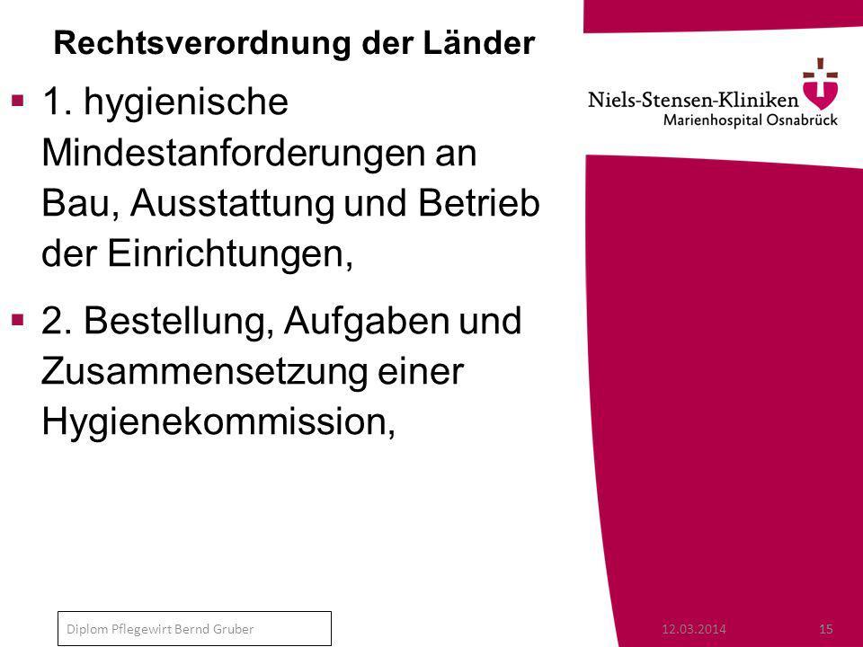 12.03.201415 Diplom Pflegewirt Bernd Gruber Rechtsverordnung der Länder 1.