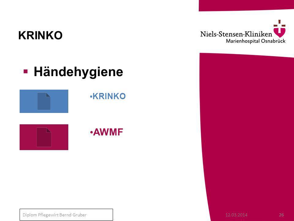 12.03.201426 Diplom Pflegewirt Bernd Gruber KRINKO Händehygiene AWMF KRINKO