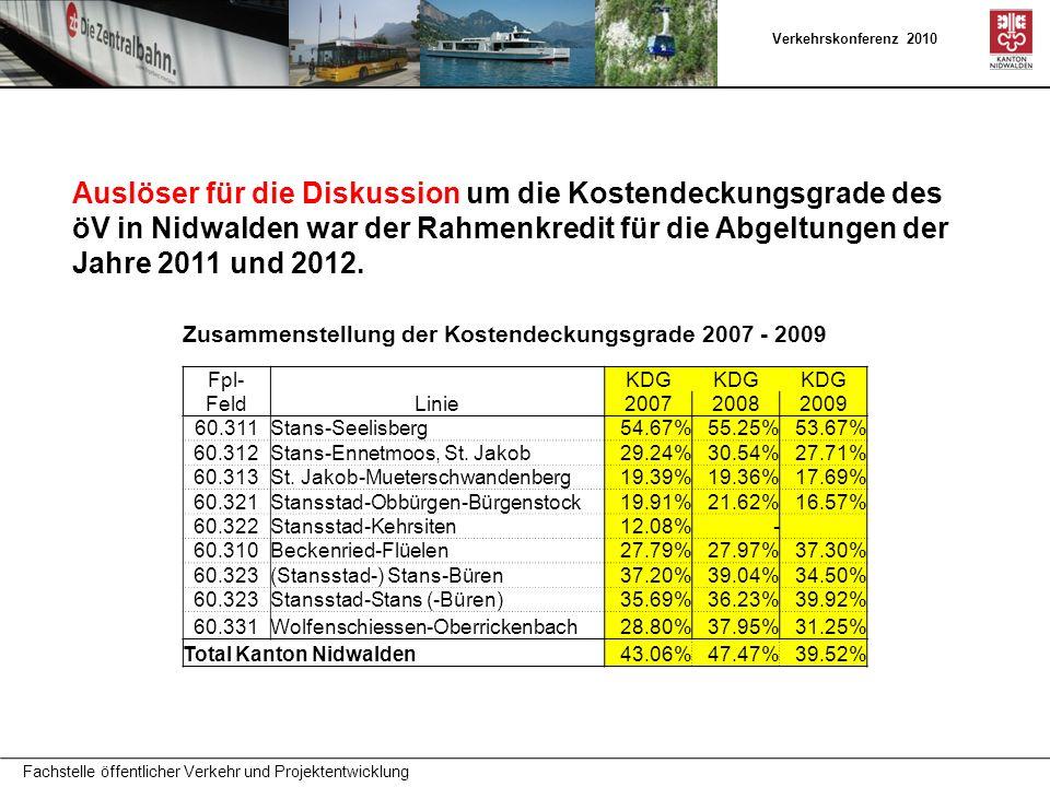 Verkehrskonferenz 2010 Auslöser für die Diskussion um die Kostendeckungsgrade des öV in Nidwalden war der Rahmenkredit für die Abgeltungen der Jahre 2011 und 2012.