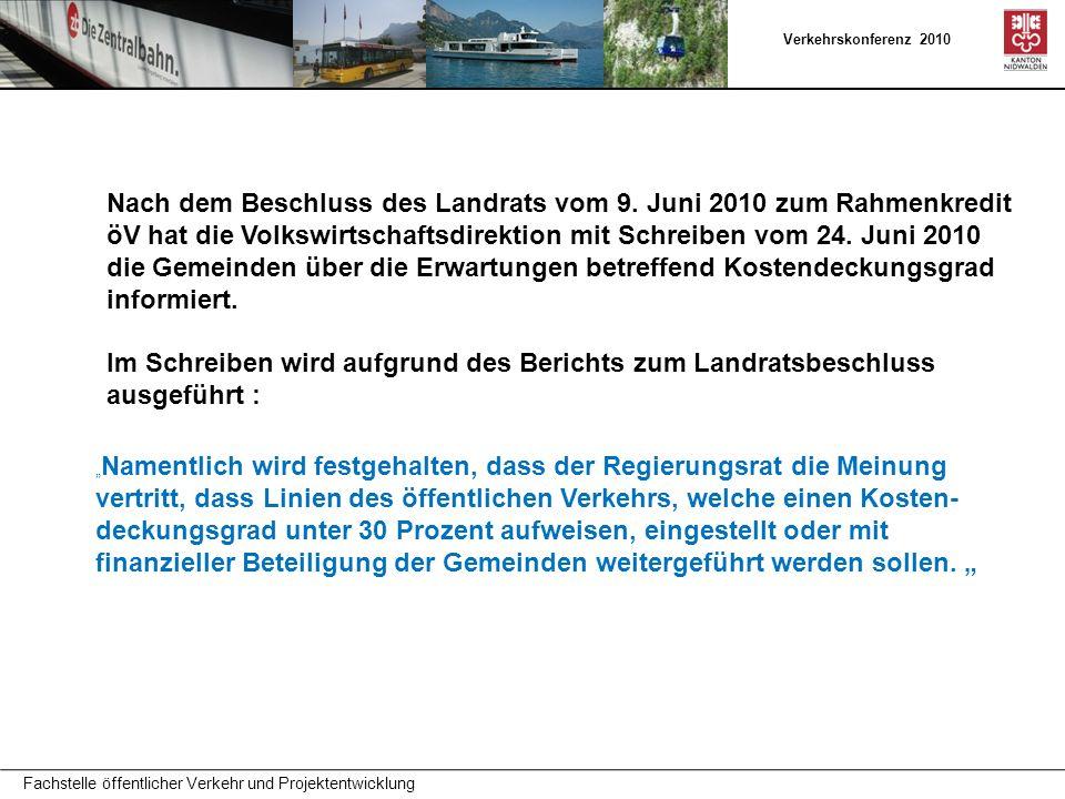 Verkehrskonferenz 2010 Fachstelle öffentlicher Verkehr und Projektentwicklung Nach dem Beschluss des Landrats vom 9.