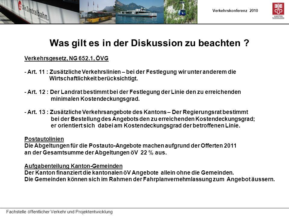 Verkehrskonferenz 2010 Fachstelle öffentlicher Verkehr und Projektentwicklung Was gilt es in der Diskussion zu beachten ? Verkehrsgesetz, NG 652.1, ÖV