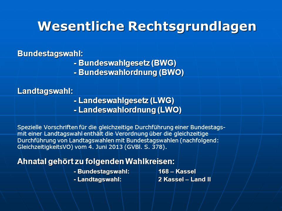 Bundestagswahl: - Bundeswahlgesetz (BWG) - Bundeswahlordnung (BWO) Landtagswahl: - Landeswahlgesetz (LWG) - Landeswahlordnung (LWO) Spezielle Vorschri
