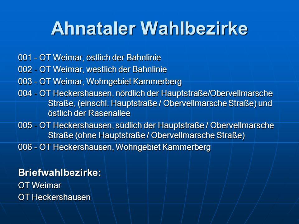 Ahnataler Wahlbezirke 001 - OT Weimar, östlich der Bahnlinie 002 - OT Weimar, westlich der Bahnlinie 003 - OT Weimar, Wohngebiet Kammerberg 004 - OT H