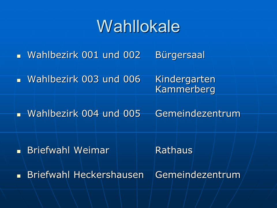 Wahllokale Wahlbezirk 001 und 002 Bürgersaal Wahlbezirk 001 und 002 Bürgersaal Wahlbezirk 003 und 006 Kindergarten Kammerberg Wahlbezirk 003 und 006 K