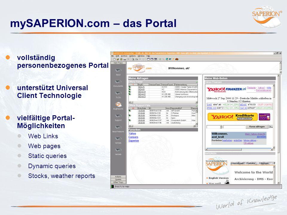 mySAPERION.com – das Portal vollständig personenbezogenes Portal unterstützt Universal Client Technologie vielfältige Portal- Möglichkeiten Web Links