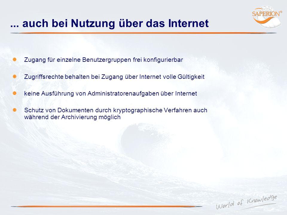... auch bei Nutzung über das Internet Zugang für einzelne Benutzergruppen frei konfigurierbar Zugriffsrechte behalten bei Zugang über Internet volle