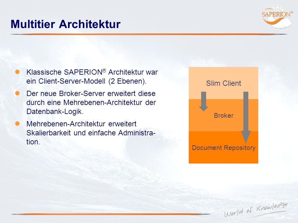 Multitier Architektur Klassische SAPERION ® Architektur war ein Client-Server-Modell (2 Ebenen). Der neue Broker-Server erweitert diese durch eine Meh
