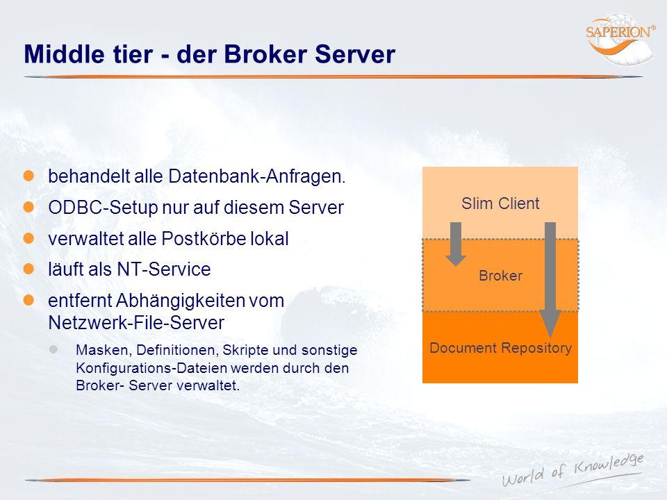 Middle tier - der Broker Server behandelt alle Datenbank-Anfragen. ODBC-Setup nur auf diesem Server verwaltet alle Postkörbe lokal läuft als NT-Servic