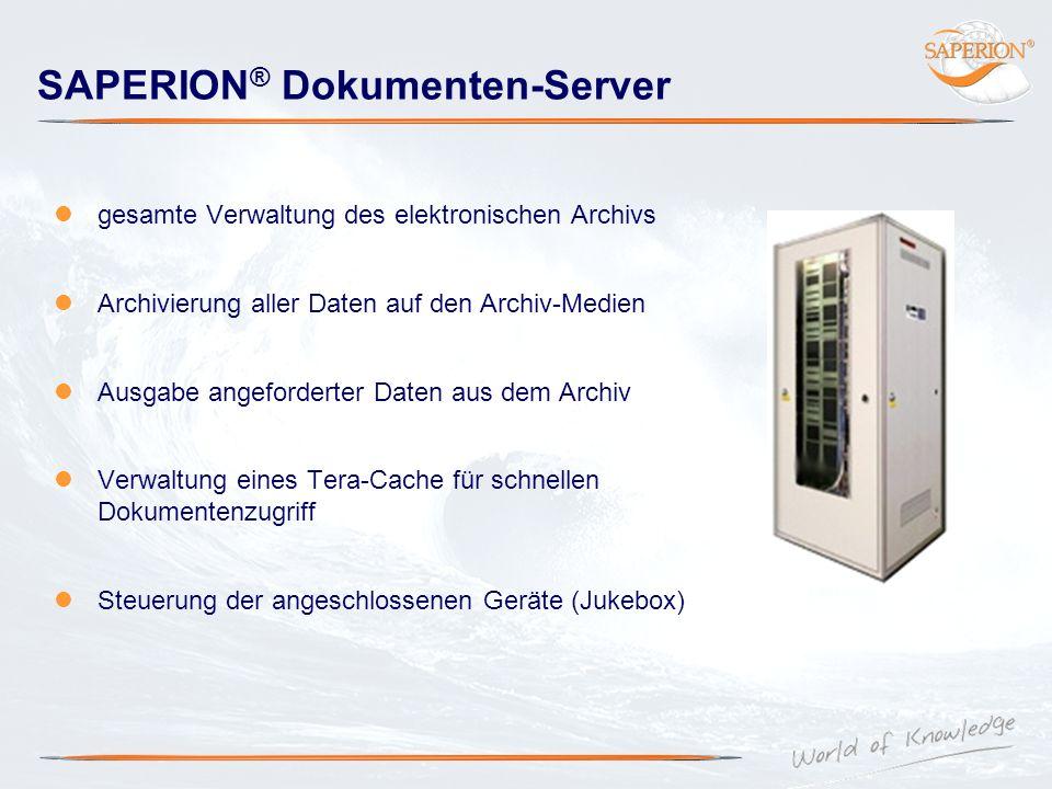 SAPERION ® Dokumenten-Server gesamte Verwaltung des elektronischen Archivs Archivierung aller Daten auf den Archiv-Medien Ausgabe angeforderter Daten