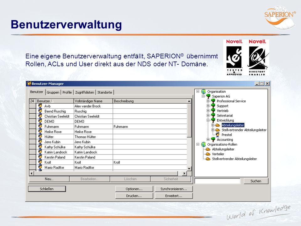 Benutzerverwaltung Eine eigene Benutzerverwaltung entfällt, SAPERION ® übernimmt Rollen, ACLs und User direkt aus der NDS oder NT- Domäne.