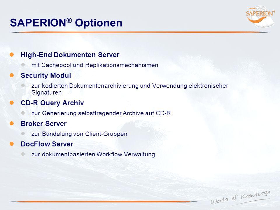 SAPERION ® Optionen High-End Dokumenten Server mit Cachepool und Replikationsmechanismen Security Modul zur kodierten Dokumentenarchivierung und Verwe