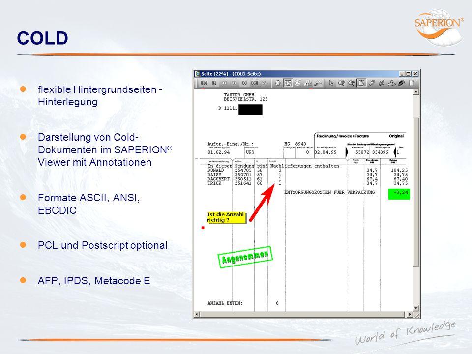 COLD flexible Hintergrundseiten - Hinterlegung Darstellung von Cold- Dokumenten im SAPERION ® Viewer mit Annotationen Formate ASCII, ANSI, EBCDIC PCL