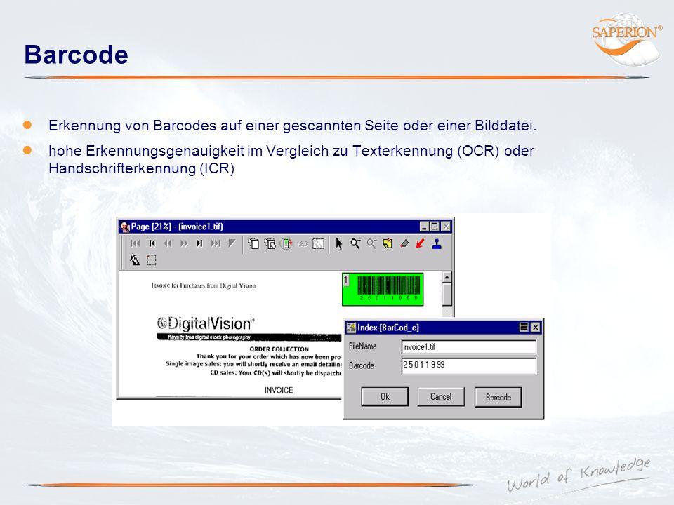 Barcode Erkennung von Barcodes auf einer gescannten Seite oder einer Bilddatei. hohe Erkennungsgenauigkeit im Vergleich zu Texterkennung (OCR) oder Ha