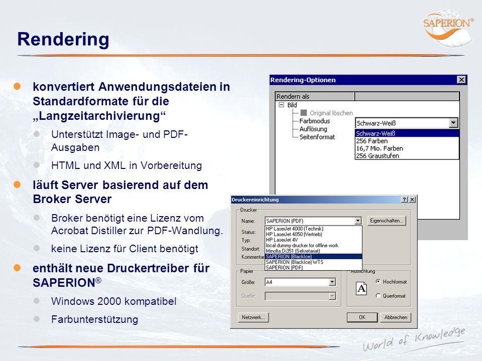 Rendering konvertiert Anwendungsdateien in Standardformate für die Langzeitarchivierung Unterstützt Image- und PDF- Ausgaben HTML und XML in Vorbereit