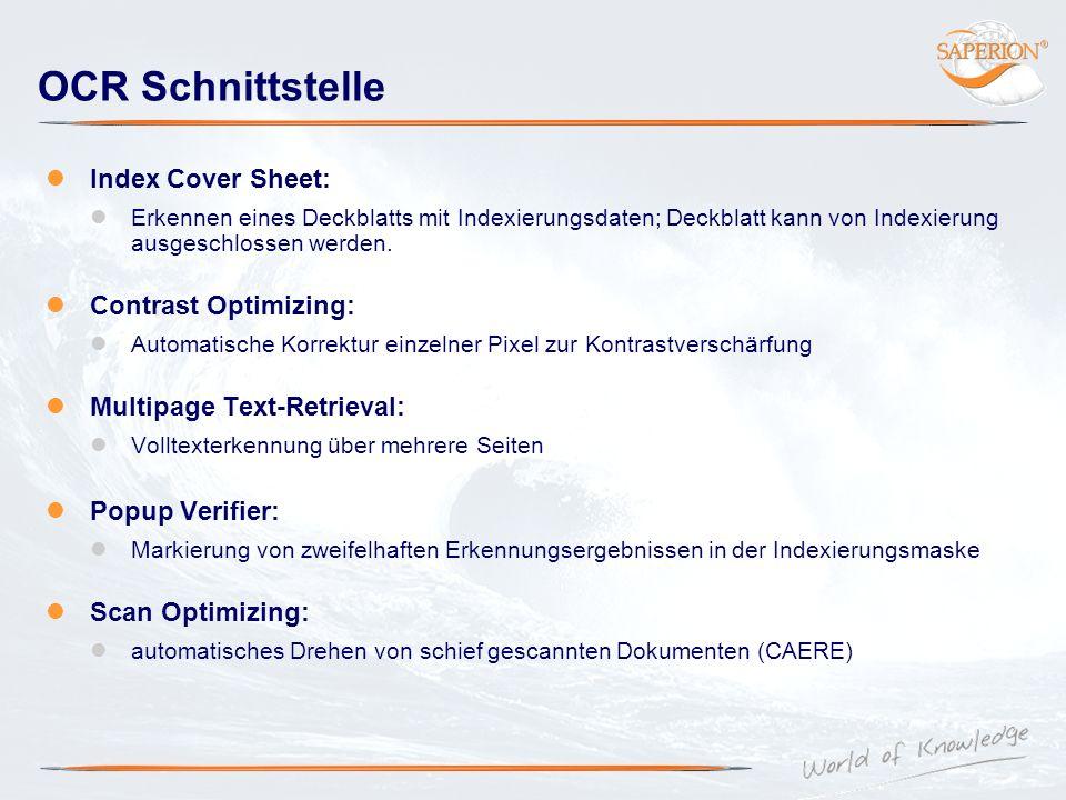 OCR Schnittstelle Index Cover Sheet: Erkennen eines Deckblatts mit Indexierungsdaten; Deckblatt kann von Indexierung ausgeschlossen werden. Contrast O