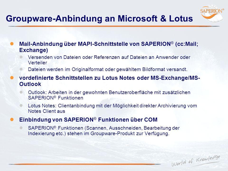 Groupware-Anbindung an Microsoft & Lotus Mail-Anbindung über MAPI-Schnittstelle von SAPERION ® (cc:Mail; Exchange) Versenden von Dateien oder Referenz