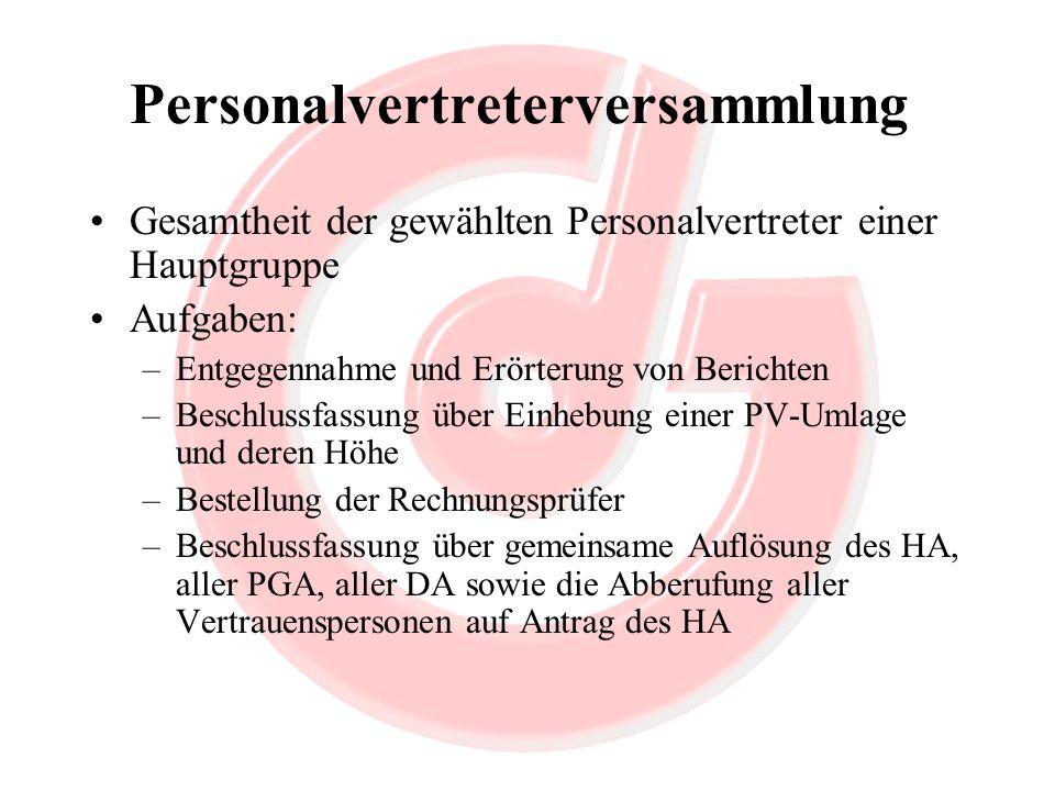 Personalvertreterversammlung Gesamtheit der gewählten Personalvertreter einer Hauptgruppe Aufgaben: –Entgegennahme und Erörterung von Berichten –Besch