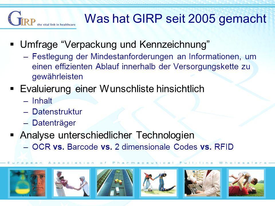 Was hat GIRP seit 2005 gemacht Umfrage Verpackung und Kennzeichnung –Festlegung der Mindestanforderungen an Informationen, um einen effizienten Ablauf innerhalb der Versorgungskette zu gewährleisten Evaluierung einer Wunschliste hinsichtlich –Inhalt –Datenstruktur –Datenträger Analyse unterschiedlicher Technologien –OCR vs.