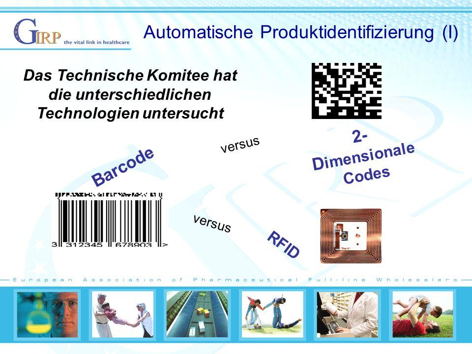 Automatische Produktidentifizierung (I) RFID 2- D imensionale Codes Barcode versus Das Technische Komitee hat die unterschiedlichen Technologien untersucht