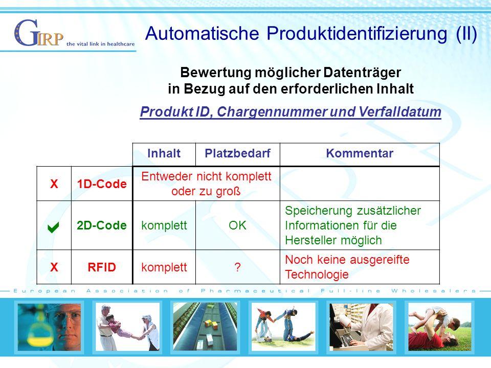 Automatische Produktidentifizierung (II) InhaltPlatzbedarfKommentar X1D-Code Entweder nicht komplett oder zu groß 2D-CodekomplettOK Speicherung zusätzlicher Informationen für die Hersteller möglich XRFIDkomplett.