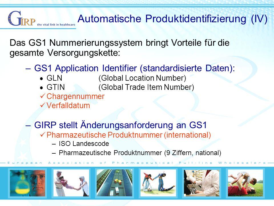 Automatische Produktidentifizierung (IV) Das GS1 Nummerierungssystem bringt Vorteile für die gesamte Versorgungskette: –GS1 Application Identifier (standardisierte Daten): GLN (Global Location Number) GTIN(Global Trade Item Number) Chargennummer Verfalldatum –GIRP stellt Änderungsanforderung an GS1 Pharmazeutische Produktnummer (international) –ISO Landescode –Pharmazeutische Produktnummer (9 Ziffern, national)