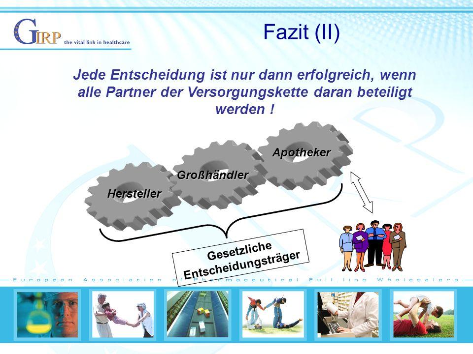 Fazit (II) Jede Entscheidung ist nur dann erfolgreich, wenn alle Partner der Versorgungskette daran beteiligt werden .