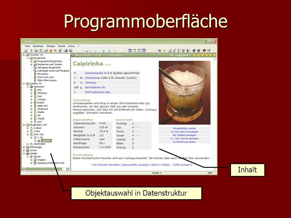 Programmoberfläche Objektauswahl in Datenstruktur Inhalt