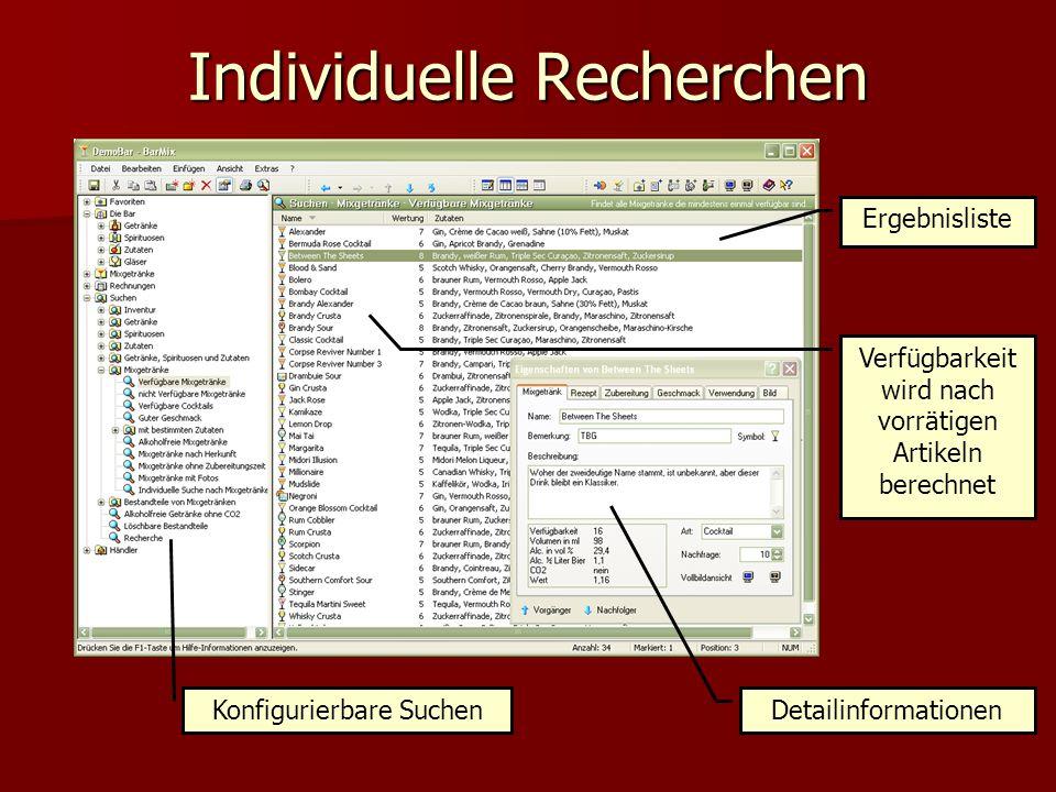 Individuelle Recherchen Konfigurierbare Suchen Detailinformationen Ergebnisliste Verfügbarkeit wird nach vorrätigen Artikeln berechnet