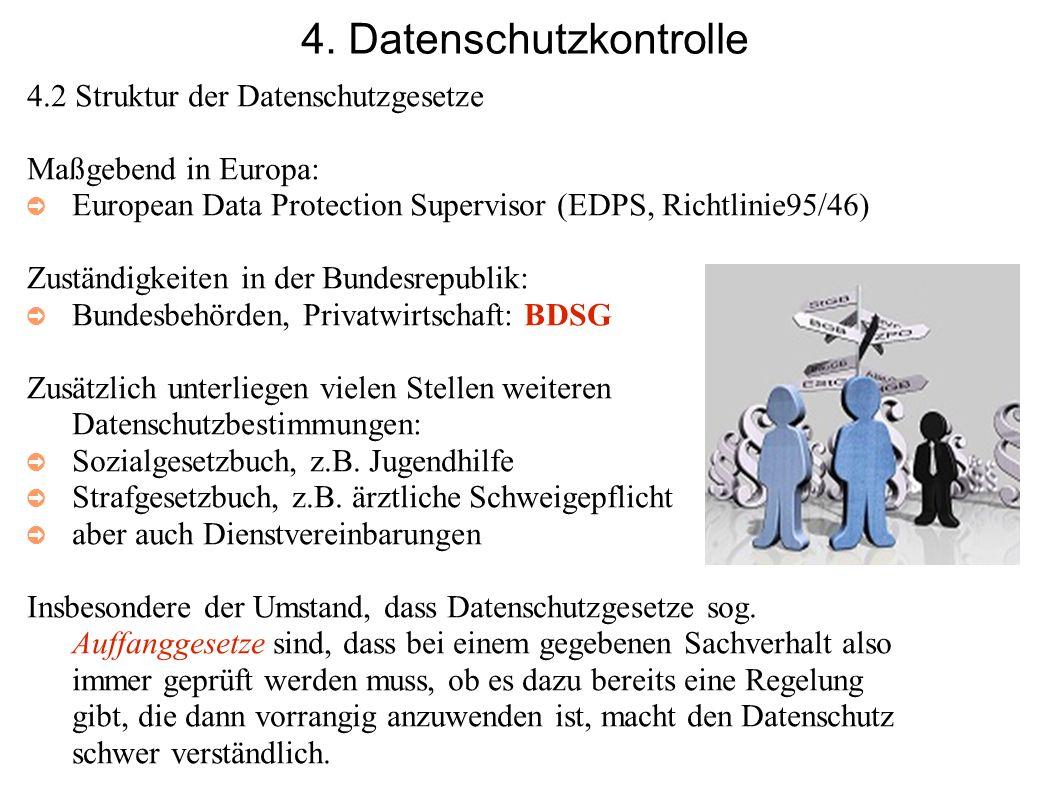 4. Datenschutzkontrolle 4.2 Struktur der Datenschutzgesetze Maßgebend in Europa: European Data Protection Supervisor (EDPS, Richtlinie95/46) Zuständig