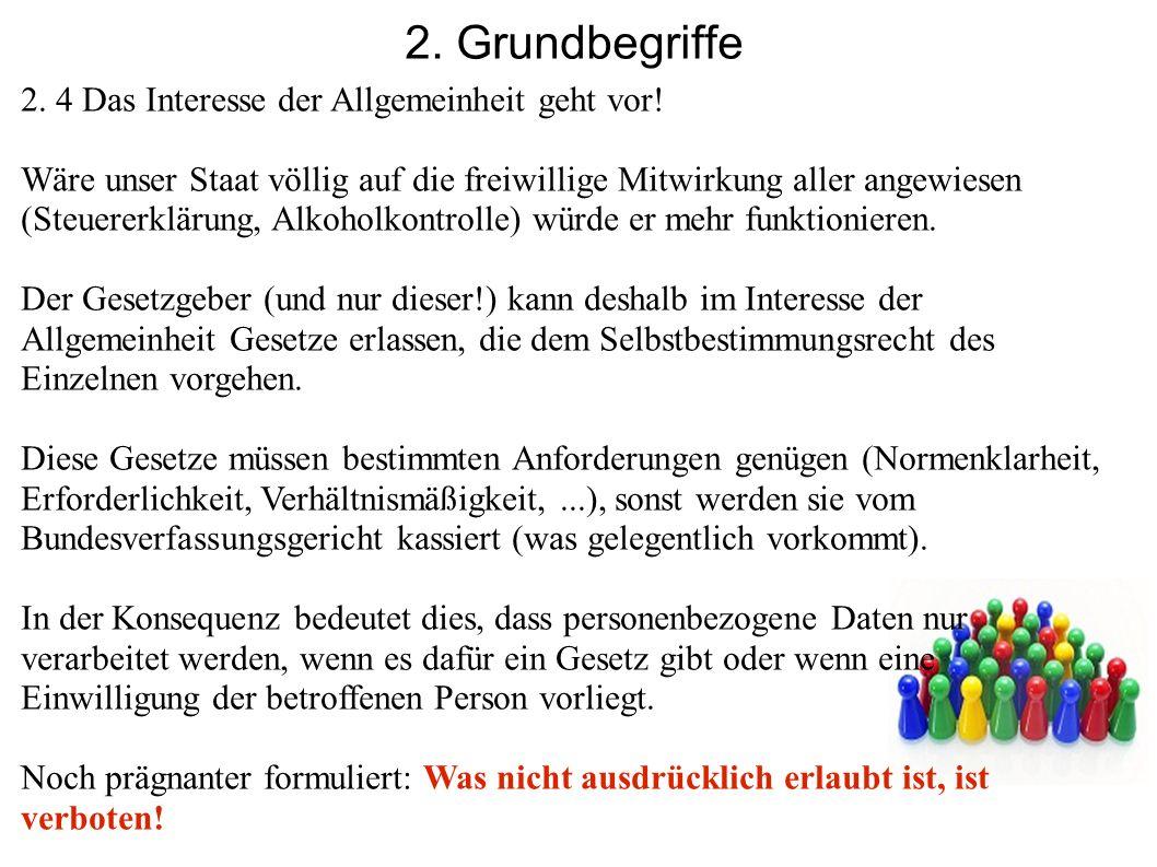 2. Grundbegriffe 2. 4 Das Interesse der Allgemeinheit geht vor! Wäre unser Staat völlig auf die freiwillige Mitwirkung aller angewiesen (Steuererkläru