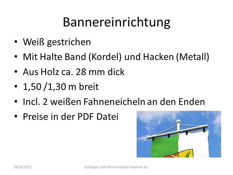 Bannereinrichtung Weiß gestrichen Mit Halte Band (Kordel) und Hacken (Metall) Aus Holz ca.