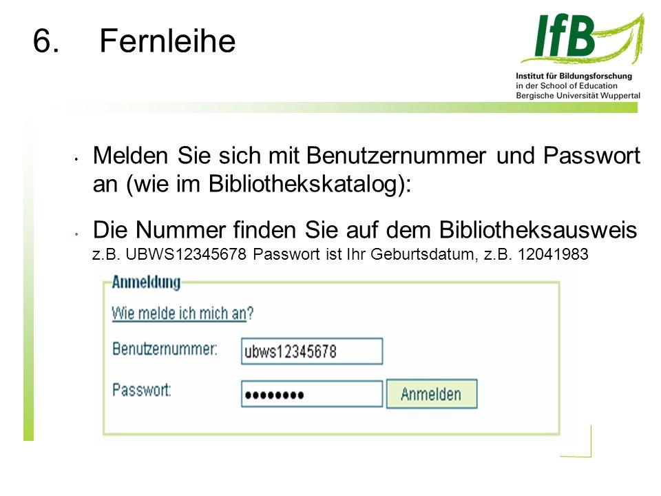 Melden Sie sich mit Benutzernummer und Passwort an (wie im Bibliothekskatalog): Die Nummer finden Sie auf dem Bibliotheksausweis z.B.