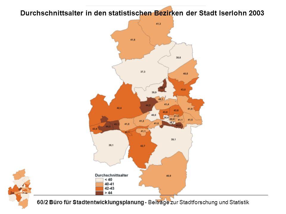 60/2 Büro für Stadtentwicklungsplanung - Beiträge zur Stadtforschung und Statistik Durchschnittsalter in den statistischen Bezirken der Stadt Iserlohn 2003