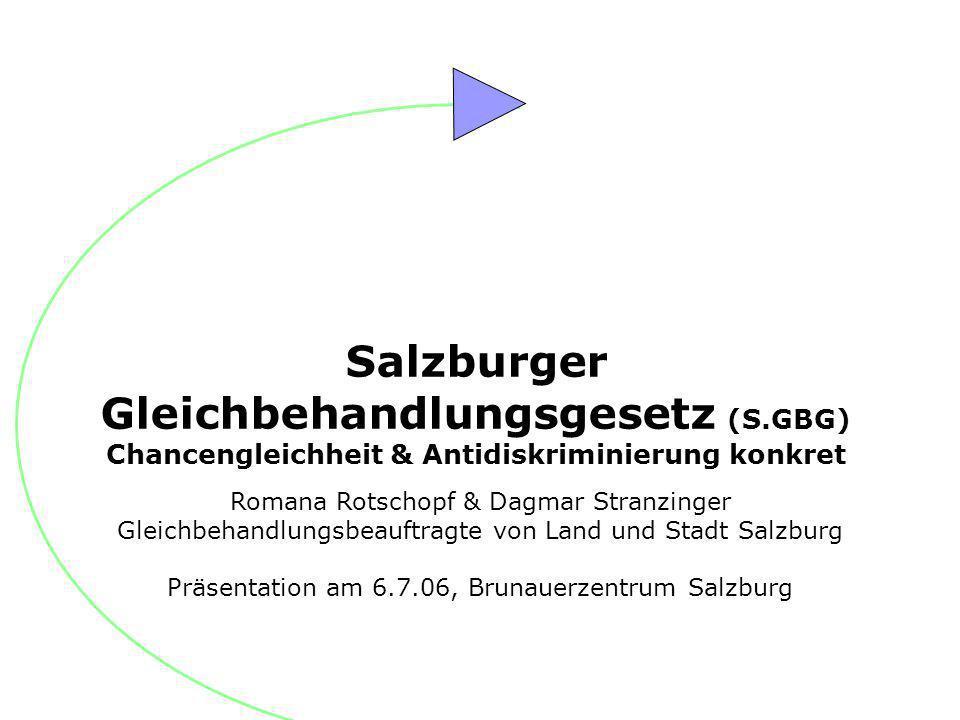 Romana Rotschopf & Dagmar Stranzinger Gleichbehandlungsbeauftragte von Land und Stadt Salzburg Präsentation am 6.7.06, Brunauerzentrum Salzburg Salzbu