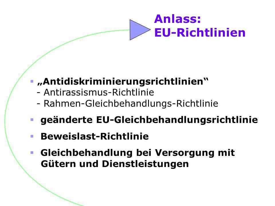 Anlass: EU-Richtlinien Antidiskriminierungsrichtlinien - Antirassismus-Richtlinie - Rahmen-Gleichbehandlungs-Richtlinie geänderte EU-Gleichbehandlungs