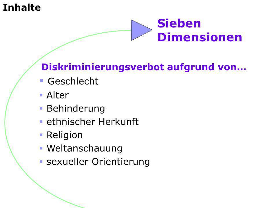 Sieben Dimensionen Geschlecht Alter Behinderung ethnischer Herkunft Religion Weltanschauung sexueller Orientierung Diskriminierungsverbot aufgrund von