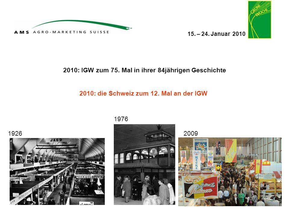15. – 24. Januar 2010 2010: IGW zum 75. Mal in ihrer 84jährigen Geschichte 1926 1976 2010: die Schweiz zum 12. Mal an der IGW 2009