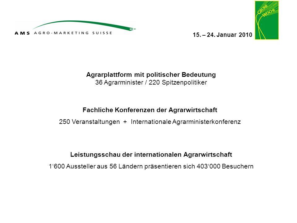 15. – 24. Januar 2010 Agrarplattform mit politischer Bedeutung 36 Agrarminister / 220 Spitzenpolitiker Fachliche Konferenzen der Agrarwirtschaft 250 V