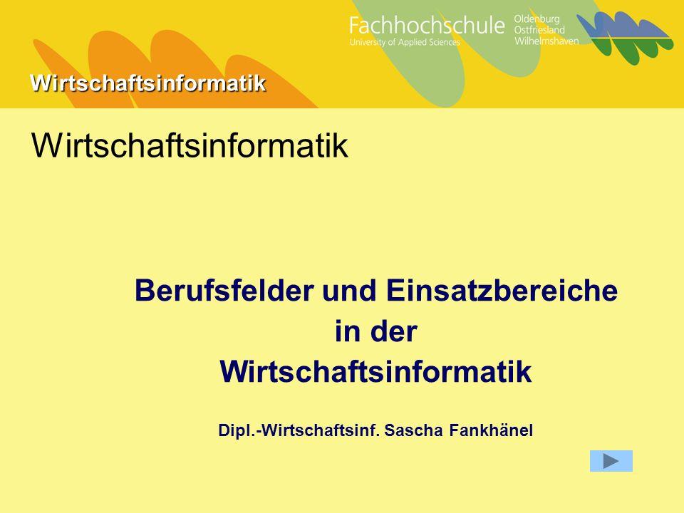Wirtschaftsinformatik Wirtschaftsinformatik Berufsfelder und Einsatzbereiche in der Wirtschaftsinformatik Dipl.-Wirtschaftsinf.