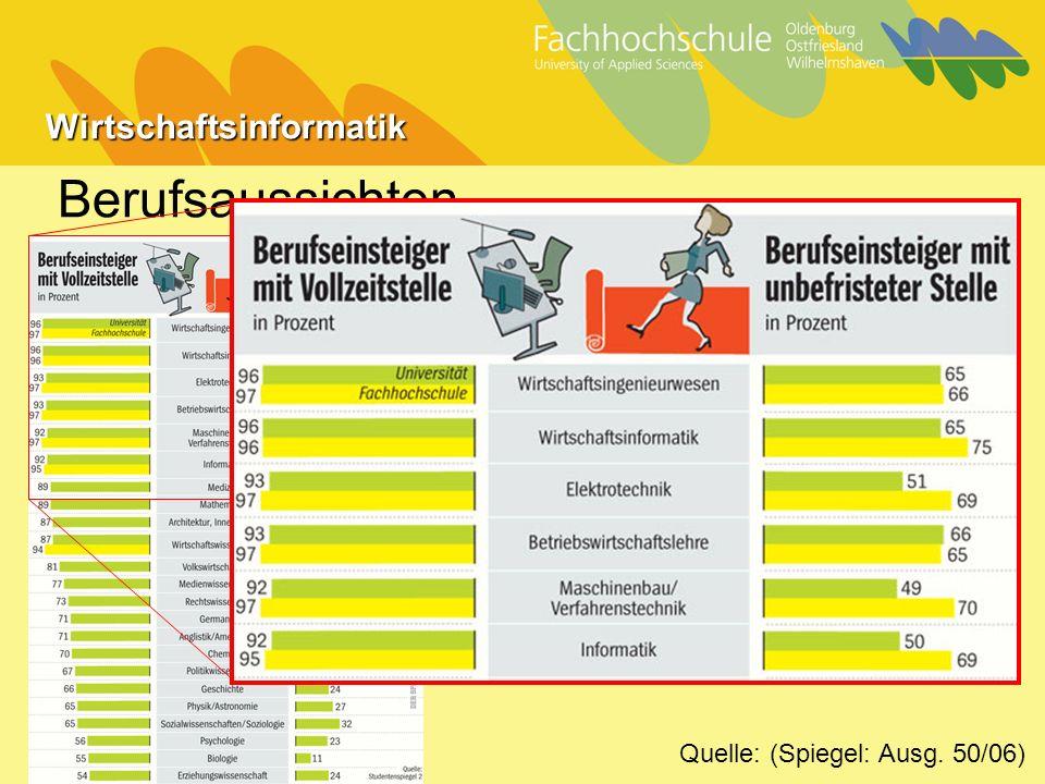 Wirtschaftsinformatik Berufsaussichten Quelle: (Spiegel: Ausg. 50/06)