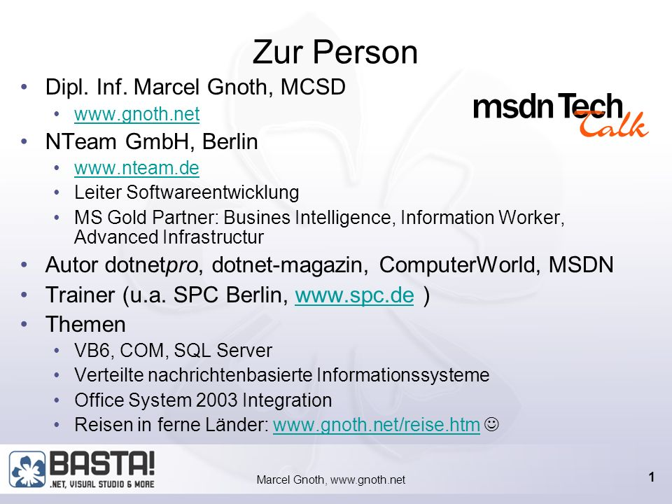 Marcel Gnoth, www.gnoth.net OFF4 - IBF 1.5 Information Bridge Framework 1.5 verbindet Web Services und Office System 2003