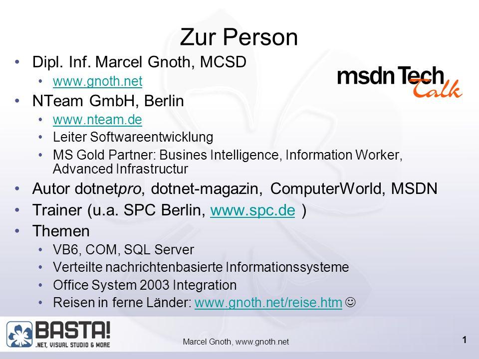 Marcel Gnoth, www.gnoth.net 21 Erstellen der Customer-Klasse Klasse Customer mit XML-Attributen für den SOAP-Formatter [XmlRoot( Customer ,Namespace= Customer-Data ,IsNullable=false)] [XmlType( Customer , Namespace= Customer-Data )] public class Customer { // Customer ID [XmlElement] public string CustomerID { get{return this._CustomerID;} set{this._CustomerID = value;} } // Company Name [XmlElement] public string CompanyName { get{return this._CompanyName;} set{this._CompanyName = value;} }...