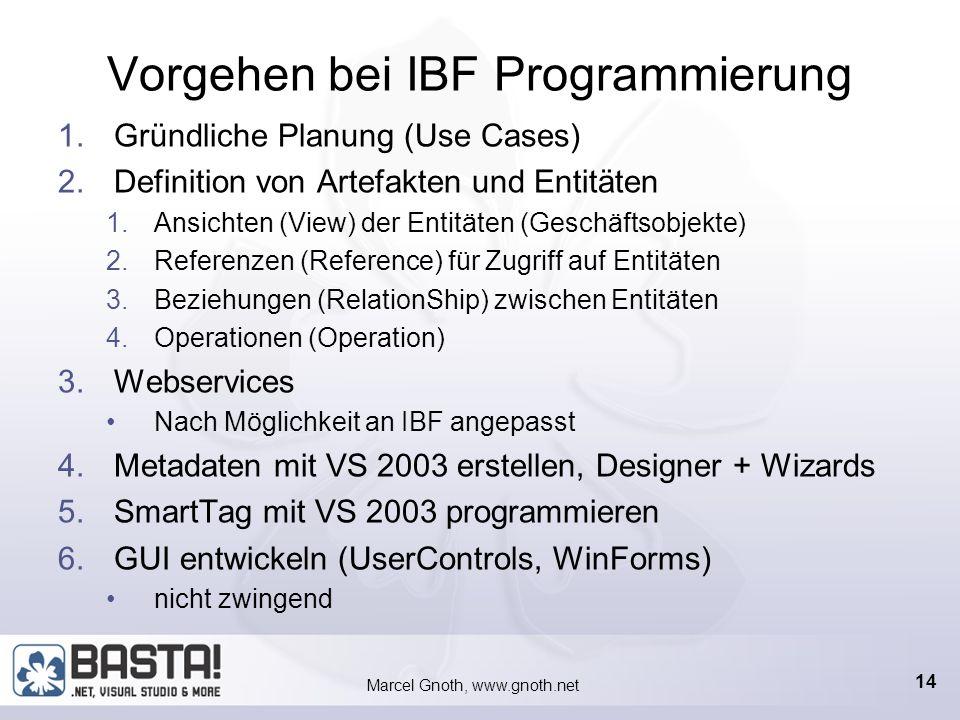 Marcel Gnoth, www.gnoth.net 13 Bestandteile eines IBF-Projektes Metadaten Bestehen aus XML, sie sind das IBF-Projekt Befinden sich alle in einer XML-D