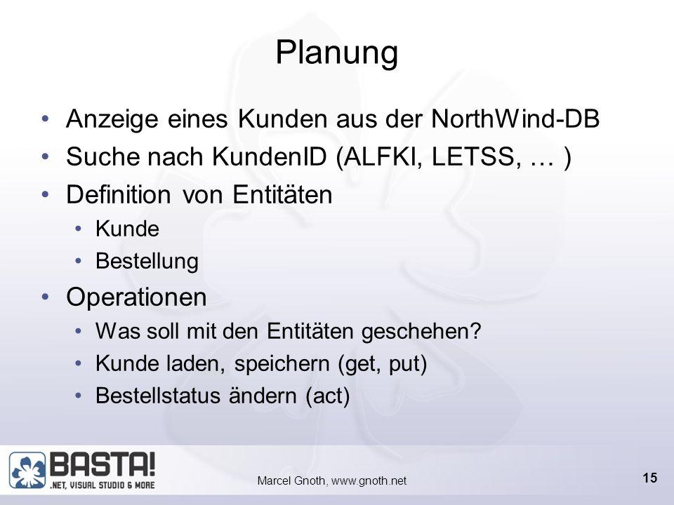 Marcel Gnoth, www.gnoth.net 14 Vorgehen bei IBF Programmierung 1.Gründliche Planung (Use Cases) 2.Definition von Artefakten und Entitäten 1.Ansichten